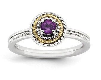 Beautiful 14 Karat Yellow Gold & 925 Sterling Silver Stackable Amethyst Ring