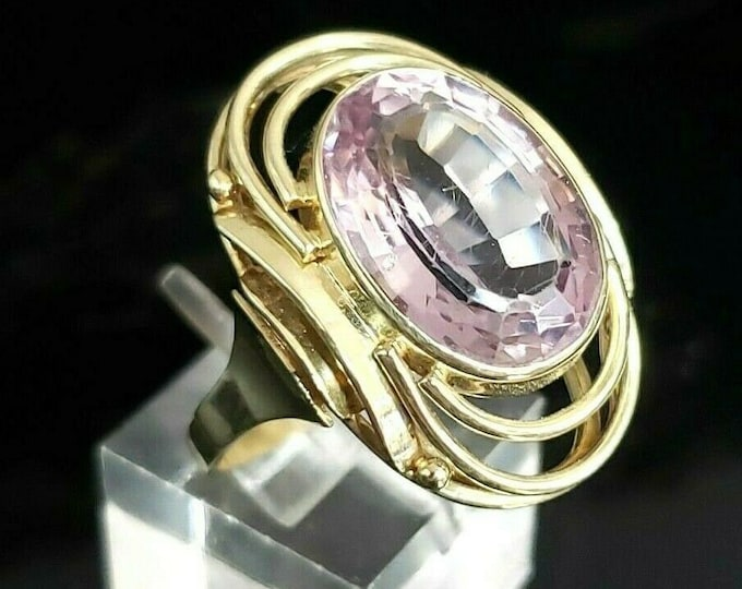 Art Deco Era 14K Yellow Gold 8.75 CT Rose De France Cocktail Ring By Handarbeit