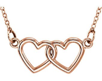 """Custom Solid 14 Karat Rose, White or Yellow Gold Double Heart 16-18"""" Necklace"""