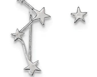 Gorgeous Custom Solid 925 Sterling Silver Rhodium-plate Constellation 1 Ear Climber & 1 Post Earrings