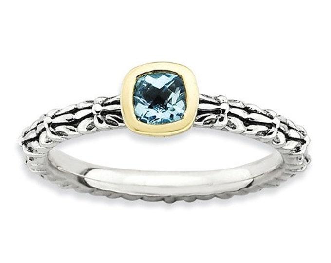 Beautiful 14 Karat Yellow Gold & 925 Sterling Silver Stackable Checker-cut Blue Topaz Ring