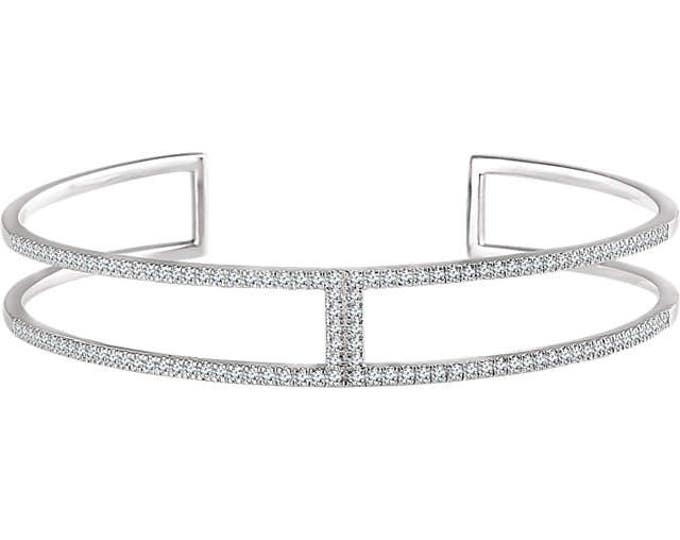 "Gorgeous Handcrafted Solid 14 Karat White Gold 3/4 CTW Diamond Cuff 6"" Bracelet"