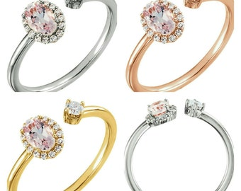Gorgeous 14 Karat White, Rose Or Yellow Gold 0.50 Carat Pink Morganite & 1/6 Carat Diamond Ring.