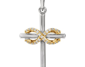 Gorgeous Customizable 14 Karat Two Tone Gold, Solid Gold Or Sterling Silver .06 CTW Diamond Infinity-Style Cross Pendant