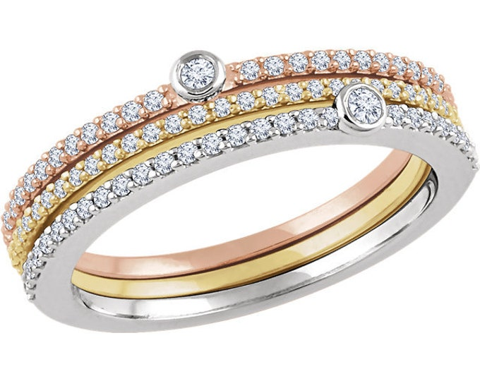 Gorgeous 14K White, Yellow, & Rose Gold  3/8 CTW Diamond Set of 3 Stackable Rings