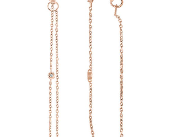 Gorgeous 14 Karat White, Rose or Yellow Gold .080 CTW Diamond Chain Earrings