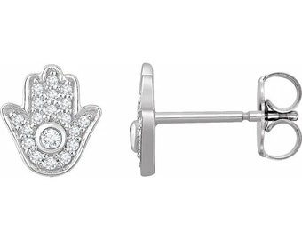 Adorable Handcrafted 14K 1/5 CTW Diamond Hamsa Earrings. Available in 14K yellow gold and 14K white gold.