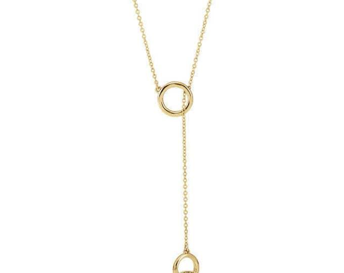 "Gorgeous Custom 14 Karat Rose, White or Yellow Gold 1/10 CTW Diamond Circle Y 16-18"" Necklace"