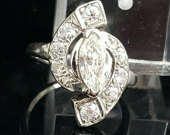 Gorgeous Antique 14 Karat White Gold 1.00 CTW Marquise Diamond Engagement Ring. #VR67