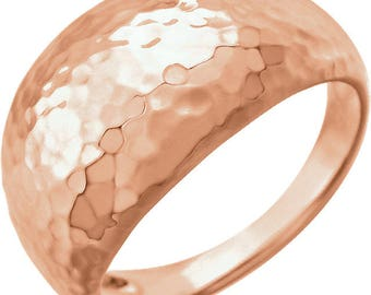 Custom Solid 14 Karat Rose, White or Yellow Gold 12mm Hammered Dome Ring