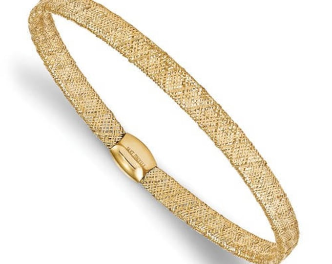 Stunning 14 Karat Yellow or White Gold Fancy Stretch Adjustable Bangle Bracelet.