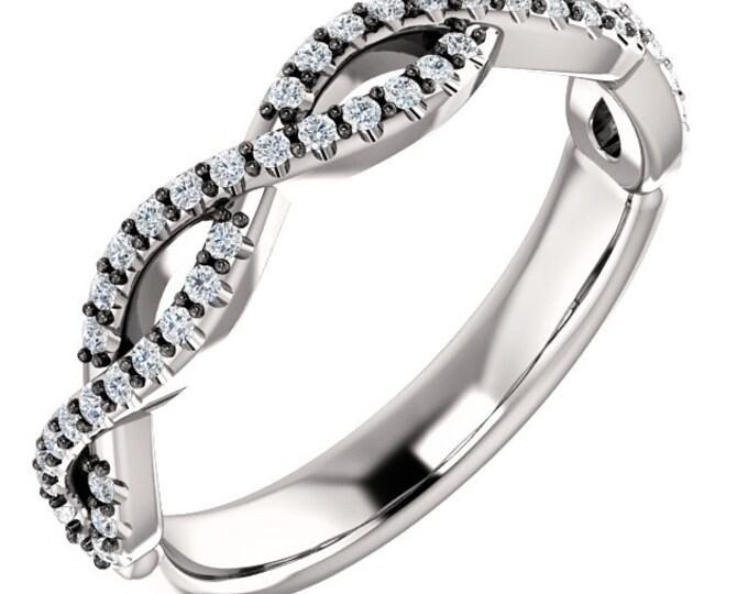 Beautiful Infinity Style 14 Karat Gold 1/5 Carat Diamond Anniversary Wedding Band