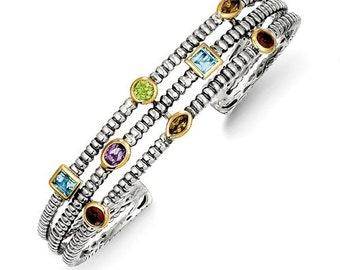 Beautiful 925 Sterling Silver w/14k 1.74tw Gemstone Cuff Bracelet
