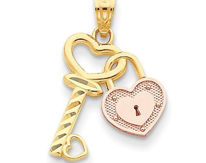 14 Karat Two-tone Yellow & Rose Gold Heart Lock and Key Pendant