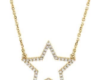 """Stunning 14 Karat White, Rose or Yellow Gold 1/4 Carat Diamond Star 16"""" Necklace"""