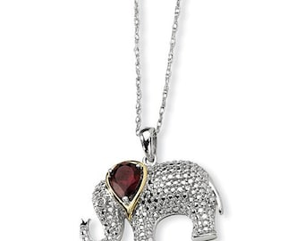 "Gorgeous 925 Sterling Silver & 14 Karat Gold Garnet and Diamond Elephant Pendant and 18"" Necklace."