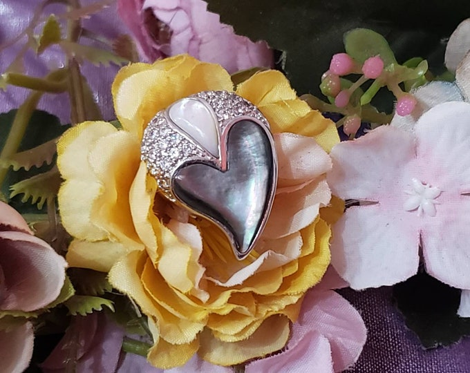 Handmade 925 Sterling Silver Diamond & MOP Teardrop Heart Pendant