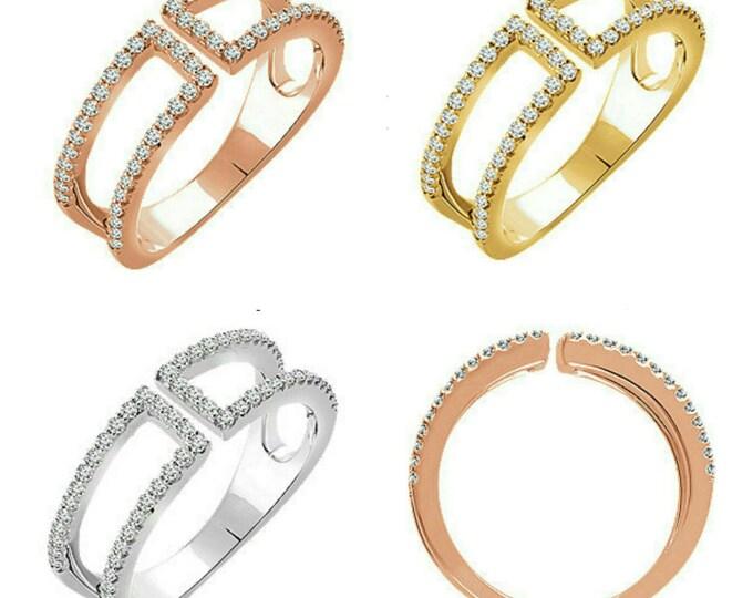 Gorgeous 14 Karat White, Rose Or Yellow Gold 1/3 CTW Diamond Negative Space Ring
