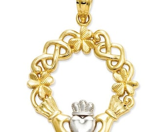 14k Yellow and White or White and Yellow Gold Celtic Knot Clover Wreath Claddagh Pendant