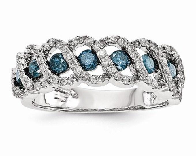 Stunning 14k White Gold Blue & White Diamond Band