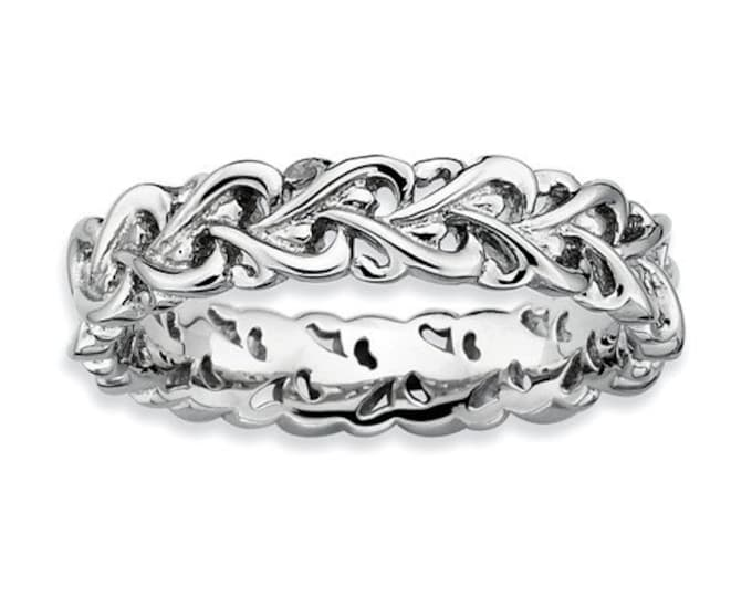 925 Sterling Silver Stackable Polished Intertwined Heart Ring