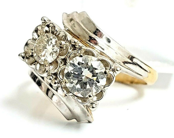 Gorgeous Vintage 14 Karat Two Tone Gold 1.00 CTW Bypass Diamond Engagement Ring #VR68