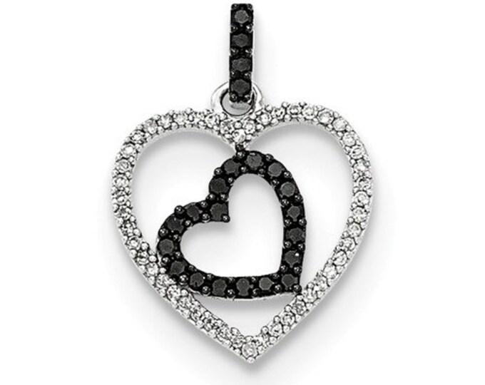 14 Karat Polished White Gold White Diamond & Black Diamond Hearts Pendant
