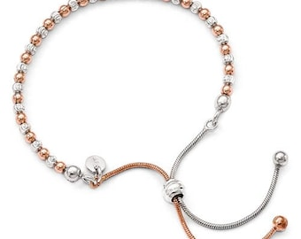 Custom Solid Sterling Silver Rose Gold-plated Diamond Cut Adjustable Bolo Bracelet