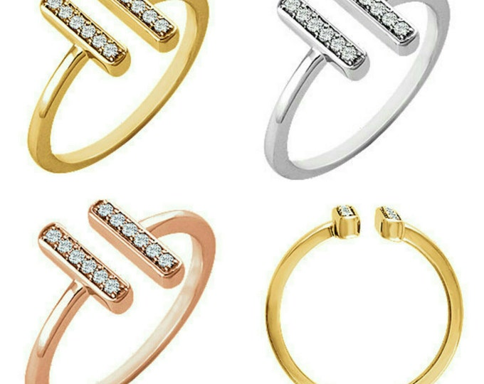Gorgeous 14 Karat White Rose Or Yellow Gold 1/10 CTW Diamond Vertical Bar Ring
