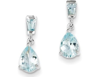 14k White Gold Aquamarine Dangle Earrings