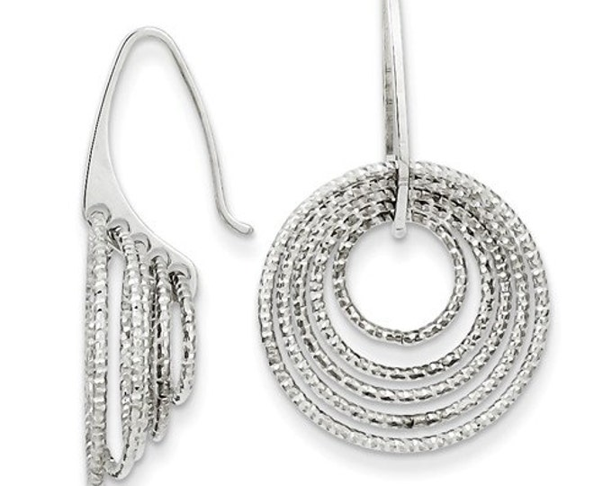Gorgeous 925 Sterling Silver Circles Dangle Earrings