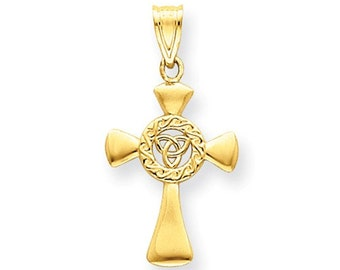 14 Karat Yellow Gold Celtic Knot Cross Pendant