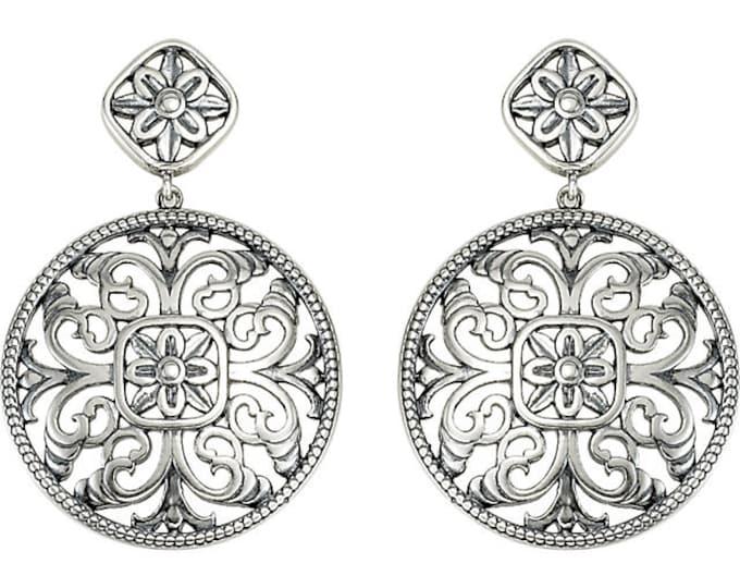 Gorgeous 925 Sterling Silver & 14 Karat White Gold Filigree Drop Dangle Earrings