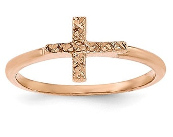 14 Karat Rose Gold Nugget Cross Ring