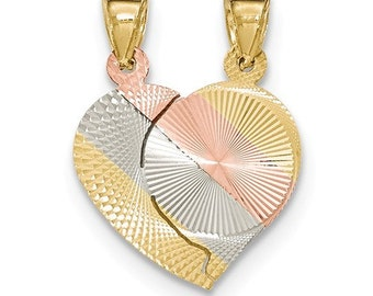 14 Karat Gold Break a Part Heart Pendant.
