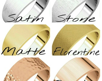 Custom Finish Handcrafted Solid 14 Karat White, Rose or Yellow Gold 8mm Flat Tapered Band.