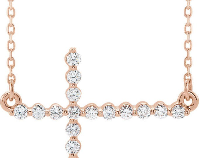 """Custom Solid Sterling Silver , Platinum or 14 Karat Rose, White or Yellow Gold 1/3 CTW Diamond Sideways Cross 18"""" Necklace"""