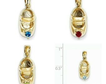 Beautiful Handcrafted Solid 14 Karat Yellow Gold 3-Dimensional Birthstone Baby Shoe Charm Pendant.