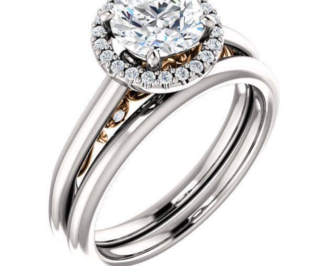 Gorgeous Handcrafted 14 Karat Two Tone Gold SI1 G-H 1.15 Carat Round Brilliant Halo Diamond Engagement Ring & Wedding Band Set.