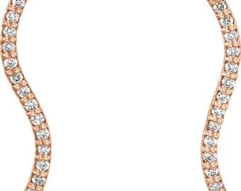 Gorgeous Custom Solid 950 Platinum, 14 Karat Rose, White or Yellow Gold 1/6 CTW Diamond Wavy Ear Climber Earrings.