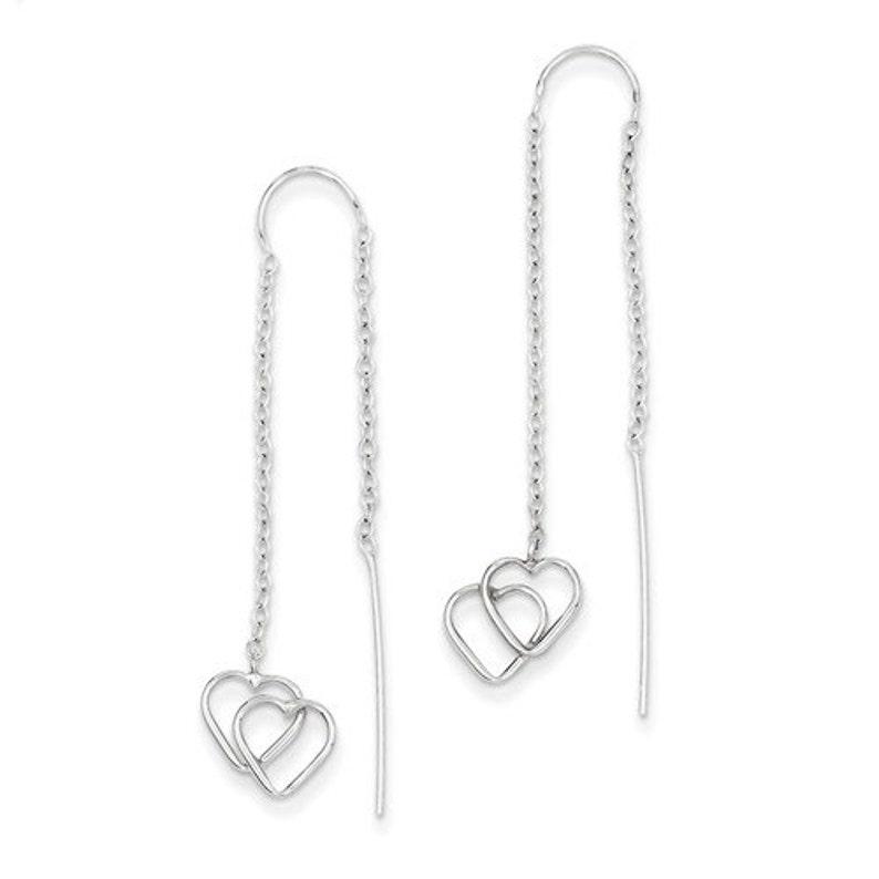 Beautiful 14 Karat White Gold Double Heart Threader Earrings