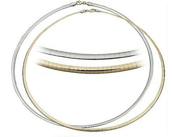 """14K Italy Yellow & White Gold Reversible Ladies 4.25mm Omega Link 18"""" Necklace."""