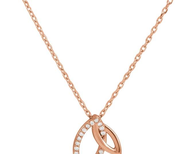 """Gorgeous 14 Karat Gold & .05 Carat Diamond Double Leaf 18"""" inch Necklace"""