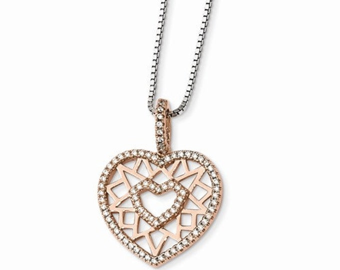 925 Sterling Silver & Rose  CZ Brilliant Embers Heart Necklace