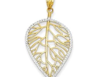 Beautiful Handcrafted 14 Karat Yellow & White Gold Mil Beaded Filigree Leaf Pendant