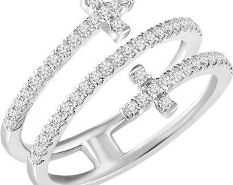 Gorgeous 14 Karat White 3/8 CTW Diamond Sideways Double Cross Ring