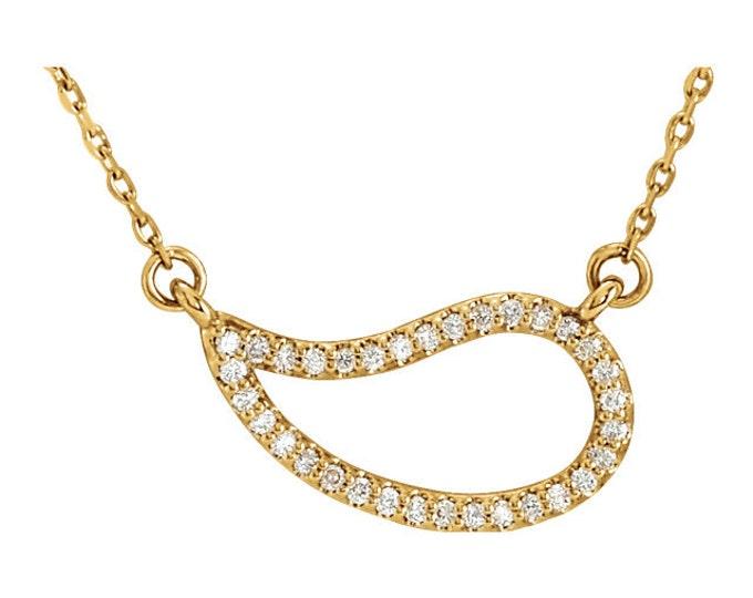 "Gorgeous 14 Karat Gold 1/6 CTW Diamond 18"" inch Necklace"