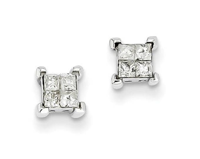 Gorgeous 14 Karat White Gold 7mm Screw back 4 stone Princess Cut Diamond Stud Earrings.