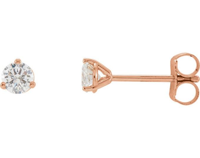 Beautiful Martini Setting 14 Karat White, Rose or Yellow Gold SI2-SI3 G-H 1/2 CTW Diamond Stud Earrings.