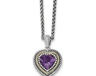 Sterling Silver & 14 Karat Amethyst Heart Necklace
